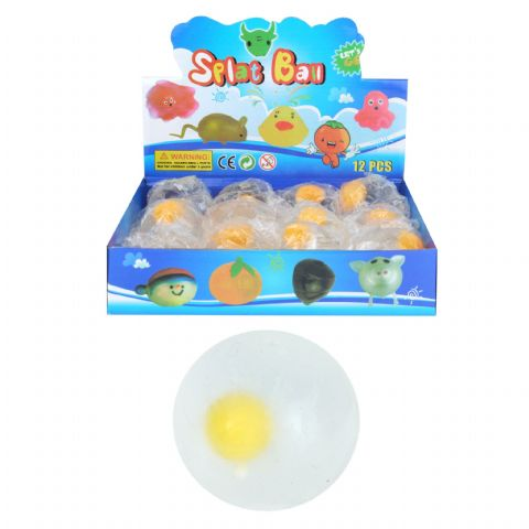 Egg Splat Ball - Squidgy Throwing Toy Yellow Clear